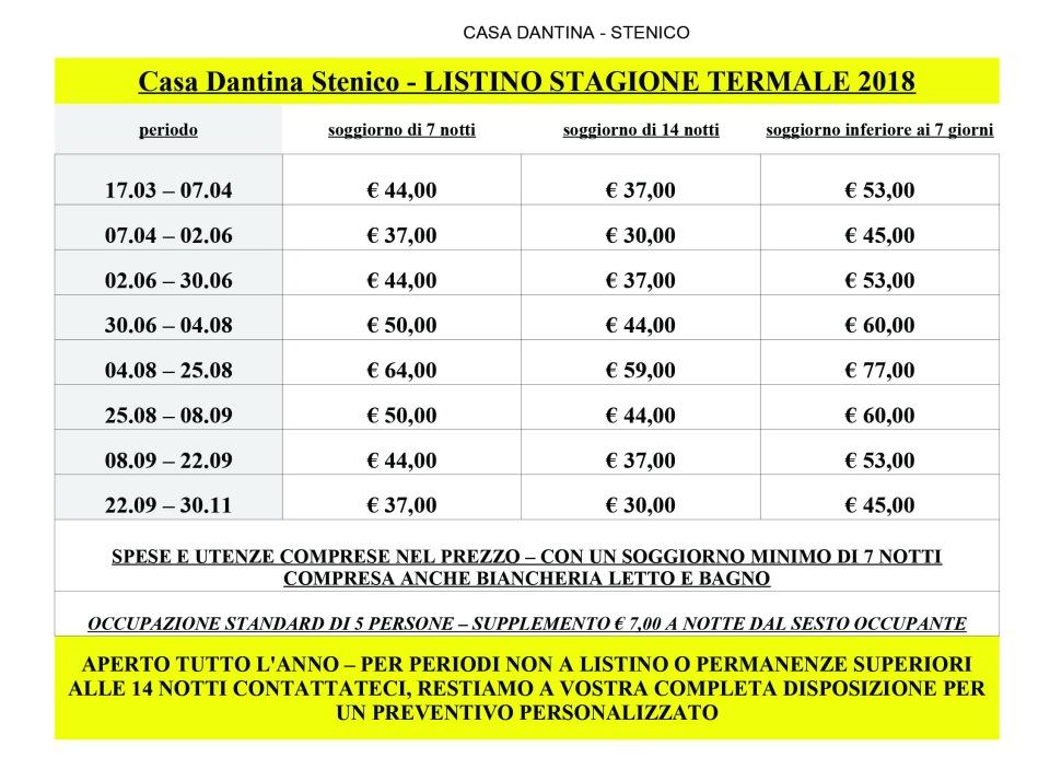 Casa Dantina Stenico listino 2018