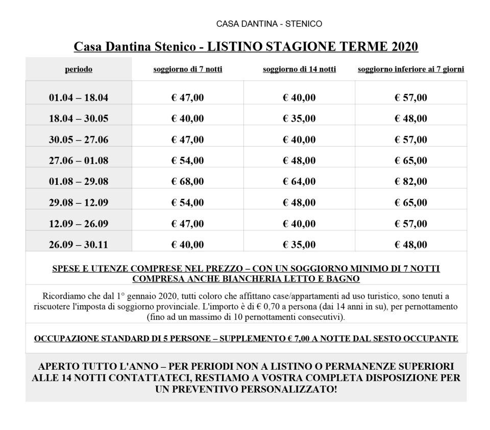 CASA DANTINA Stenico 2020 LISTINO